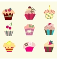 set of cupcake vector image vector image