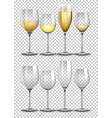 set of wine glass on transparent background vector image