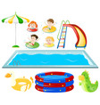 set with swimming pool and kids swimming vector image vector image