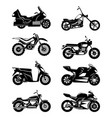 silhouette motorcycles monochrome vector image vector image