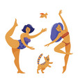slim and plus size chubwoman dancing ballet vector image vector image