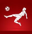 soccer player hit the ball bicycle kick vector image
