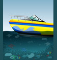 speed boat over the polluted ocean vector image vector image