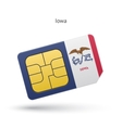 State of Iowa phone sim card with flag vector image vector image