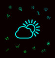 sun cloud line icon graphic elements for your vector image