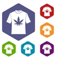 T-shirt with print of cannabis icons set vector image vector image