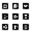 Types of drinks icons set grunge style vector image