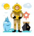 underwater diving antique scuba diver vector image
