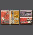vintage posters jazz and folk music instruments vector image vector image