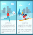 wintertime city and people set vector image vector image