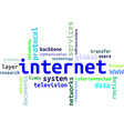word cloud internet vector image vector image