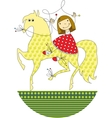 girl riding a horse vector image