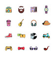 hipster style comics icons set cartoon vector image