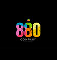 880 number grunge color rainbow numeral digit logo vector image vector image