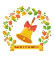 back to school bell and autumn leavs vector image vector image
