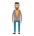 bearded guy in yellow shirt business person style vector image vector image