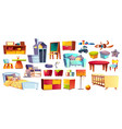 big set of kids furniture and toys vector image vector image