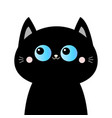 black cat head face silhouette blue eyes pink vector image vector image