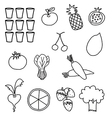 Black white vegetable fruit drawing