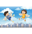 Boy and girl with wings flying in the sky vector image