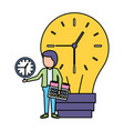 businessman bulb clock time vector image vector image