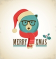 Christmas background with hipster bear vector image vector image