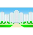 city skyscrapers with roadtree and grass vector image vector image