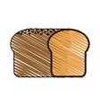 color drawing pencil cartoon long bread food vector image vector image