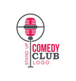 comedy club stand up logo with retro microphone vector image vector image