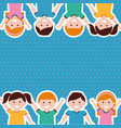 cute cartoon kids people border vector image