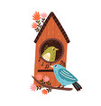 cute funny birds sitting on tree branch with vector image