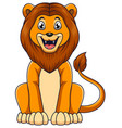 cute lion cartoon sitting on white background vector image vector image