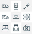 drug icons line style set with assistant stand vector image