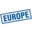 europe blue square grunge stamp on white vector image vector image