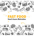 fast food hand drawn frame hand drawn junk vector image vector image