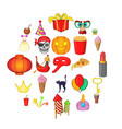 feast icons set cartoon style vector image vector image