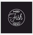 fish menu logo round linear logo fish bones vector image
