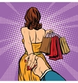 Follow me young woman leads a man shopping vector image vector image
