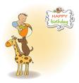 funny cartoon birthday greeting card vector image