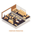 furniture production isolated isometric concept vector image vector image