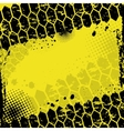 Grunge yellow tire track background vector image vector image