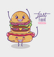 hot dog with hamburger kawaii cartoon vector image