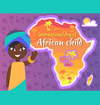 international african child day postcard with gril vector image