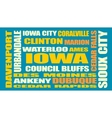 iowa state cities list vector image vector image