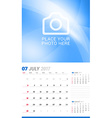 July 2017 Wall Monthly Calendar for 2017 Year vector image vector image