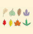 leaves colorful with hand drawn collection style vector image