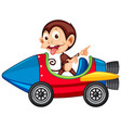 monkey riding on toy rocket cart vector image
