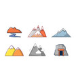 mountains icon set cartoon style vector image vector image