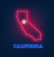 neon map state of california on dark background vector image vector image