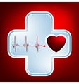Normal ecg red background heartbeat EPS 8 vector image vector image